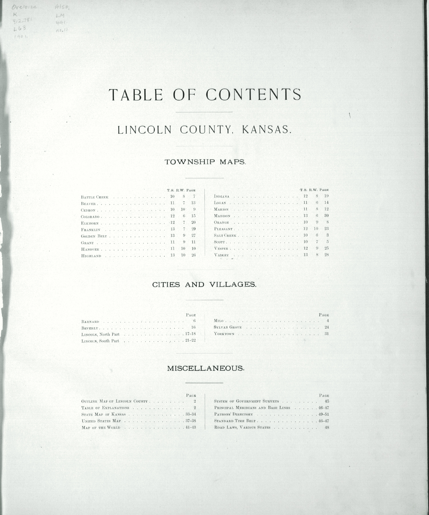Plat book of Lincoln County, Kansas - Table of Contents