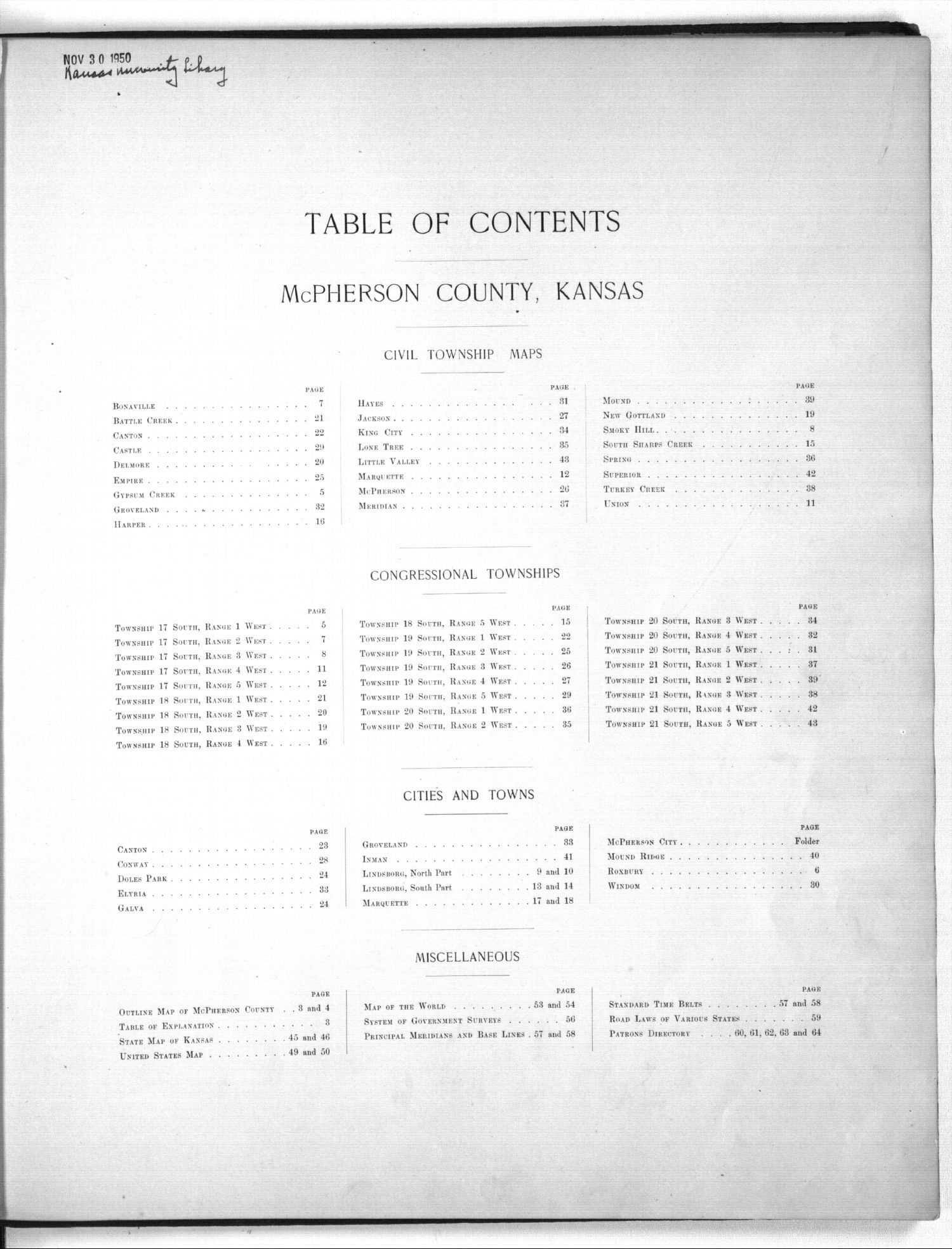 Plat book of McPherson County, Kansas - Table of Contents