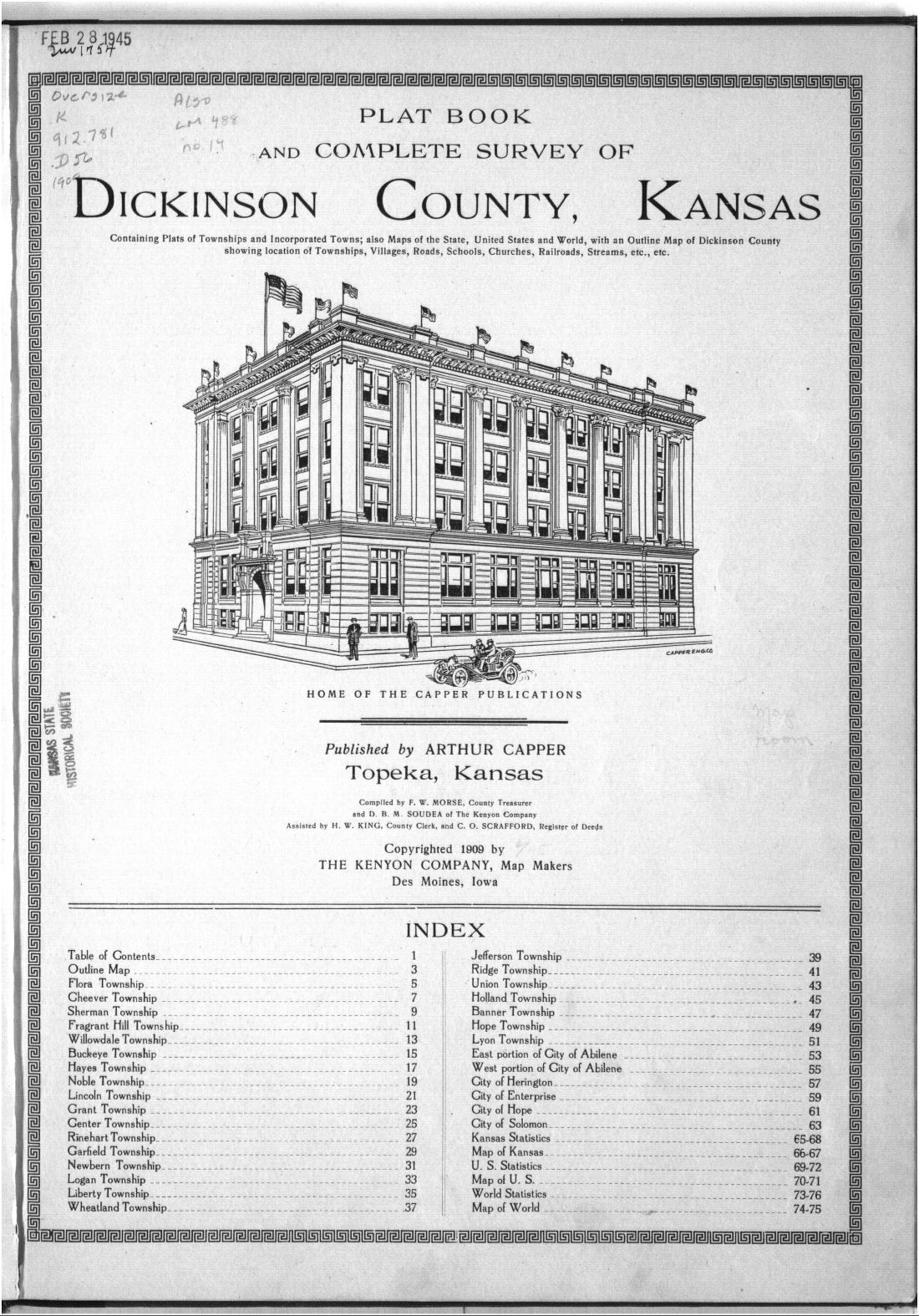 Plat book and complete survey of Dickinson County, Kansas - Title Page