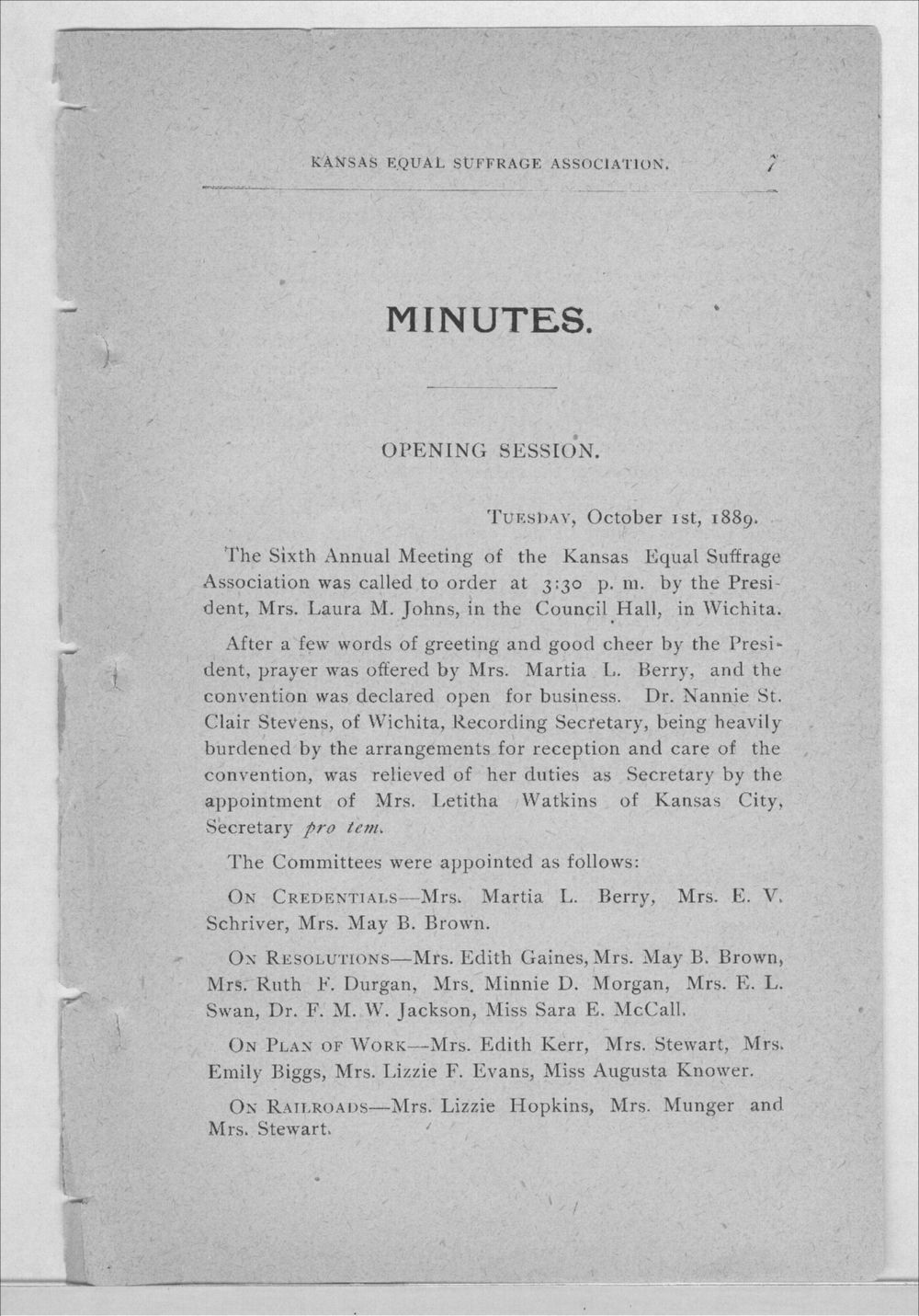 Minutes of the Kansas Equal Suffrage Association at the sixth annual meeting in 1889 - 7