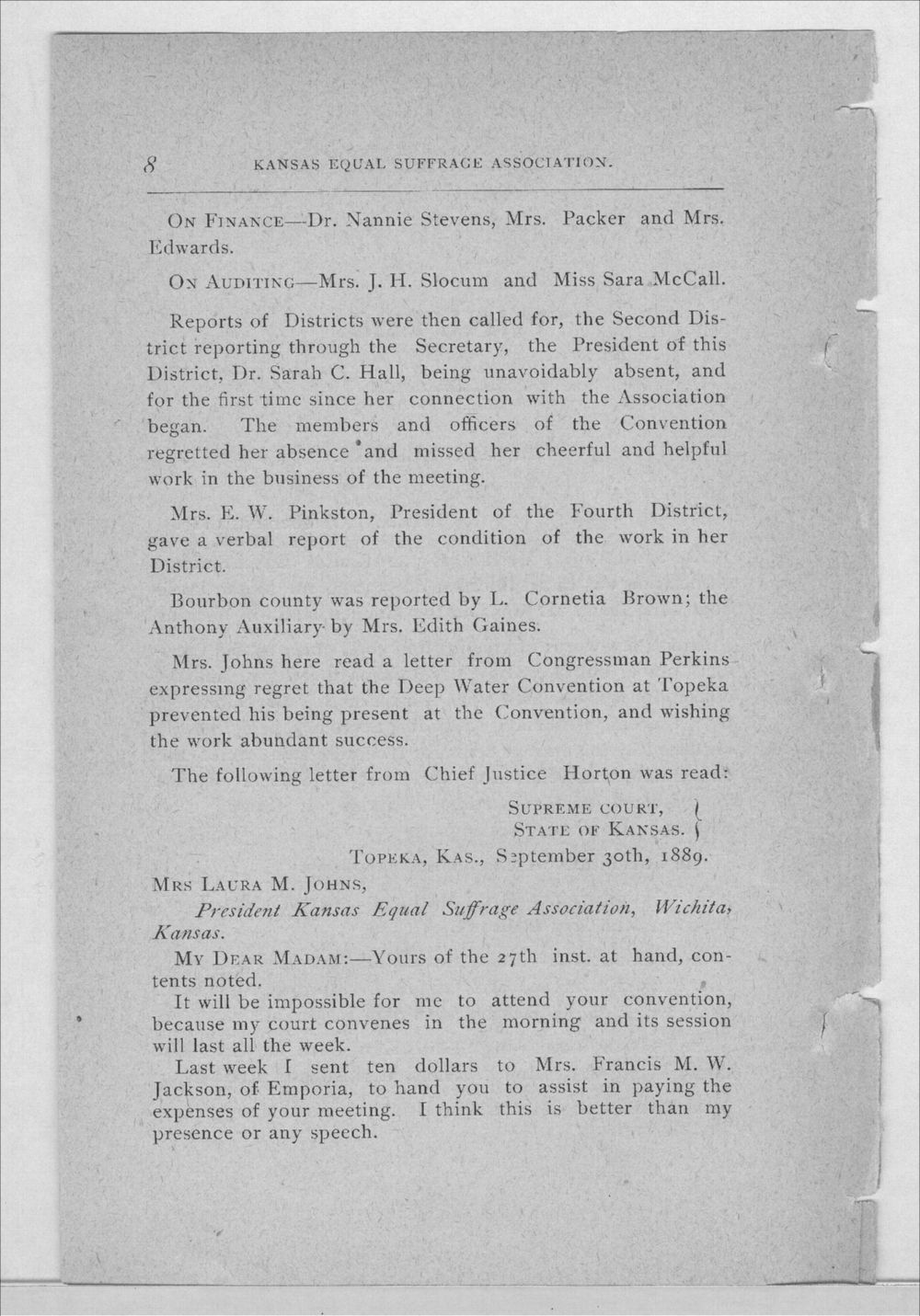 Minutes of the Kansas Equal Suffrage Association at the sixth annual meeting in 1889 - 8