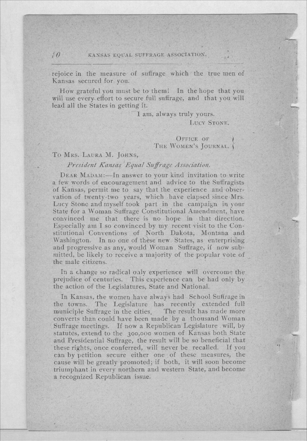 Minutes of the Kansas Equal Suffrage Association at the sixth annual meeting in 1889 - 10