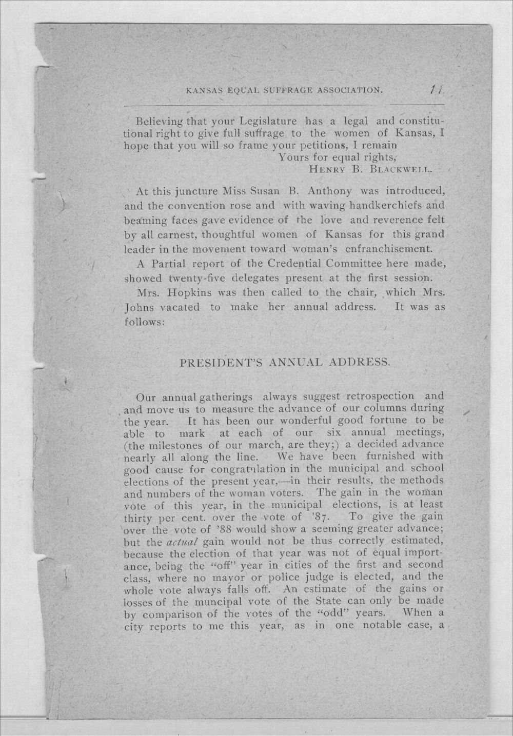 Minutes of the Kansas Equal Suffrage Association at the sixth annual meeting in 1889 - 11