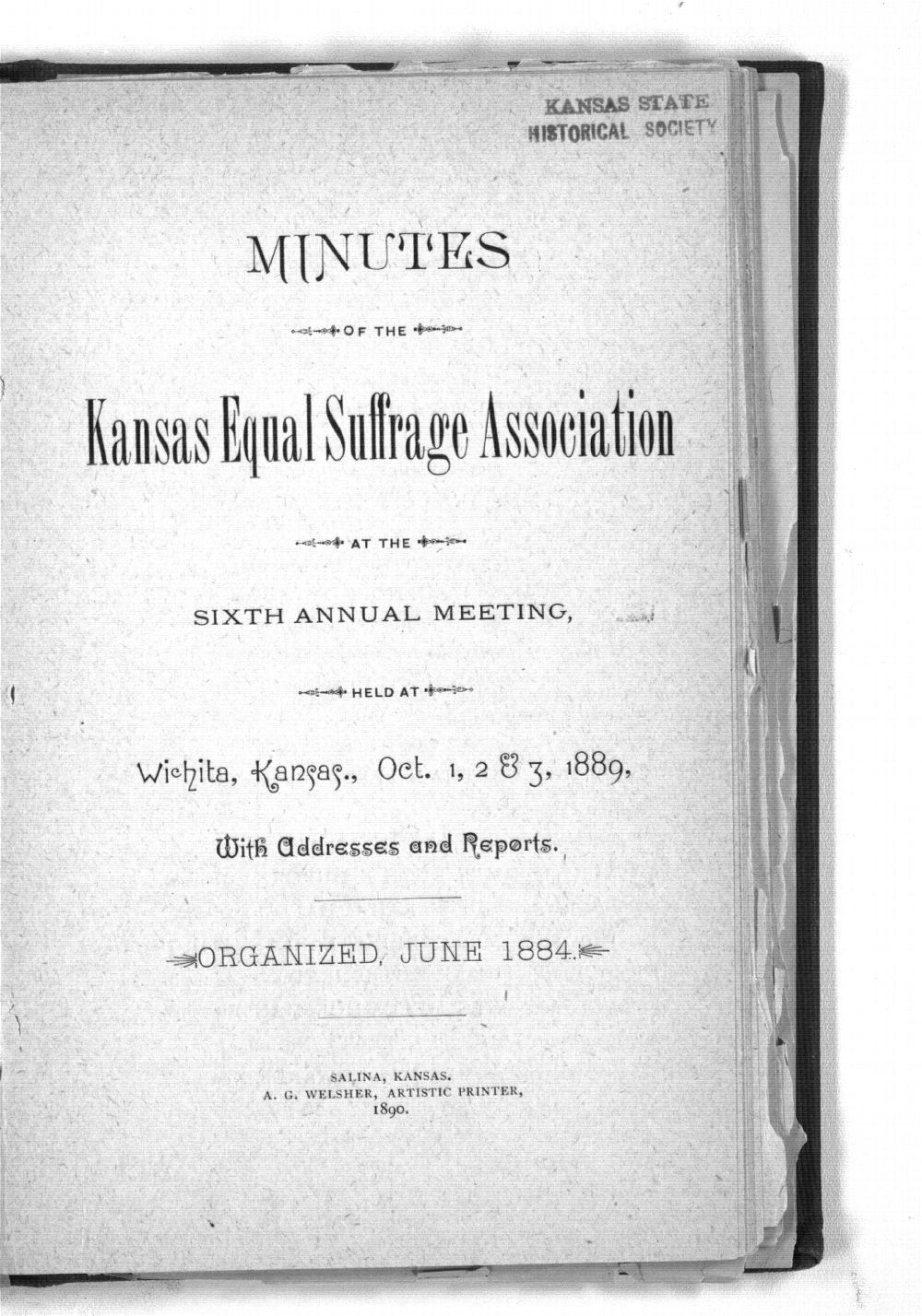 Minutes of the Kansas Equal Suffrage Association at the sixth annual meeting in 1889 - Title Page