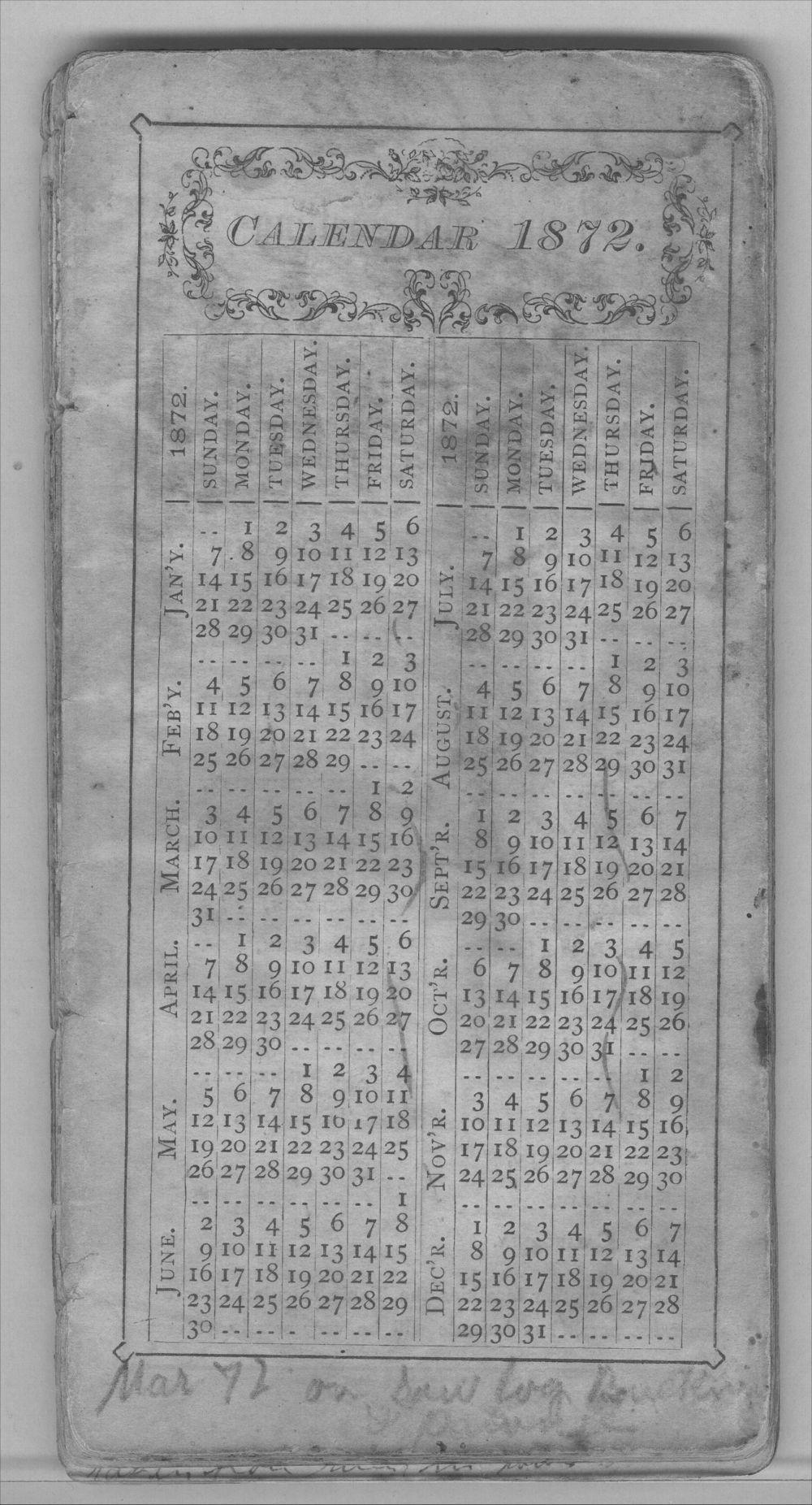 Henry Raymond diary - Calendar 1872