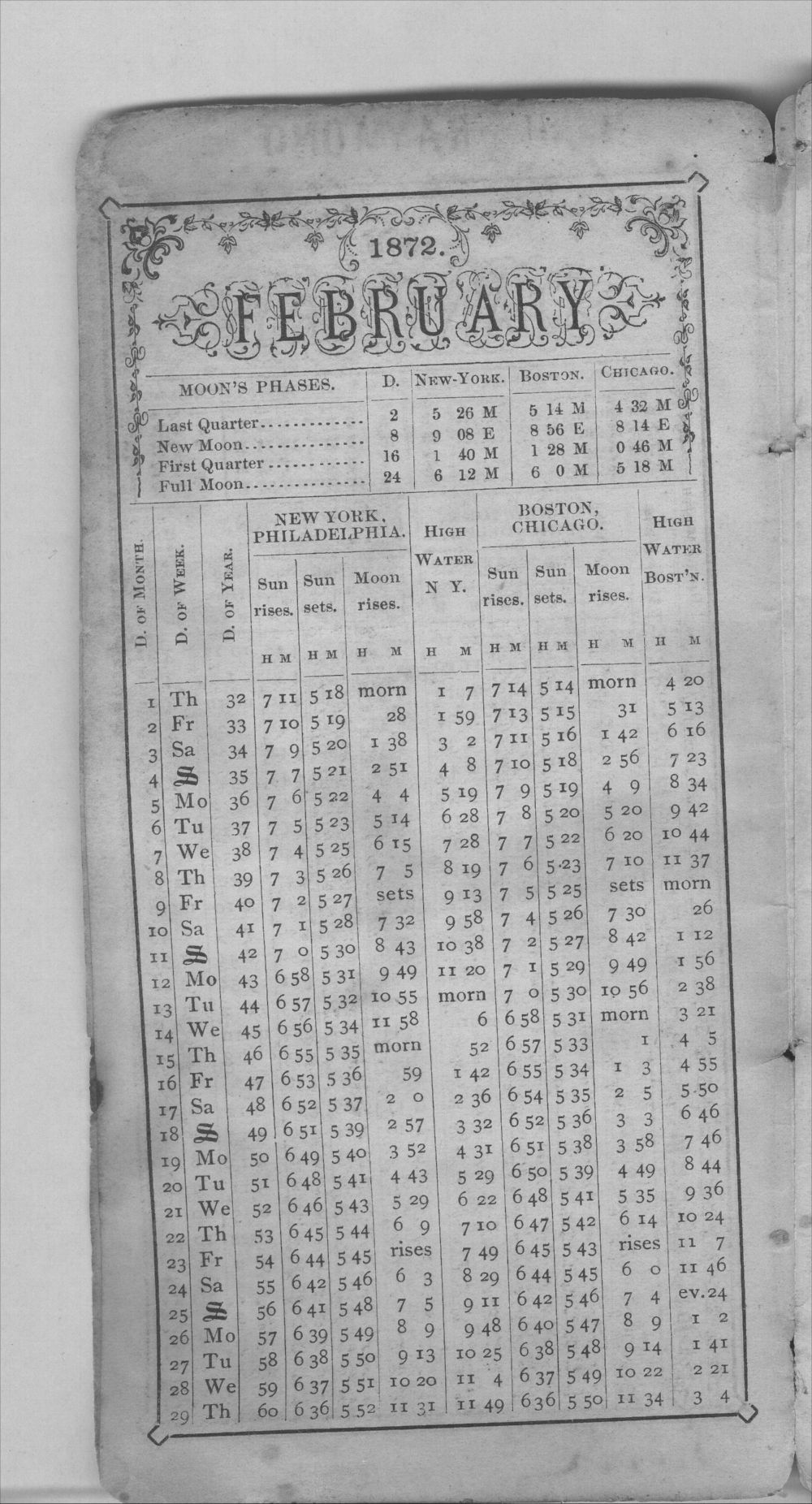 Henry Raymond diary - Feb Calendar