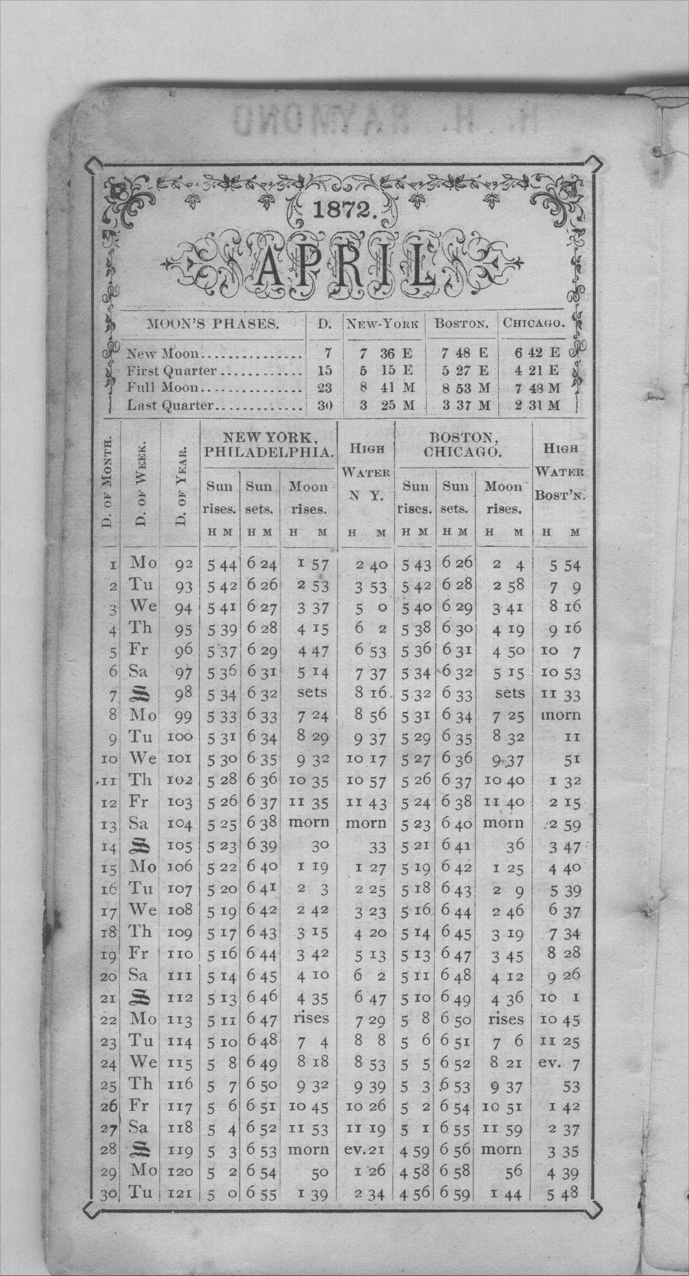 Henry Raymond diary - Apr Calendar