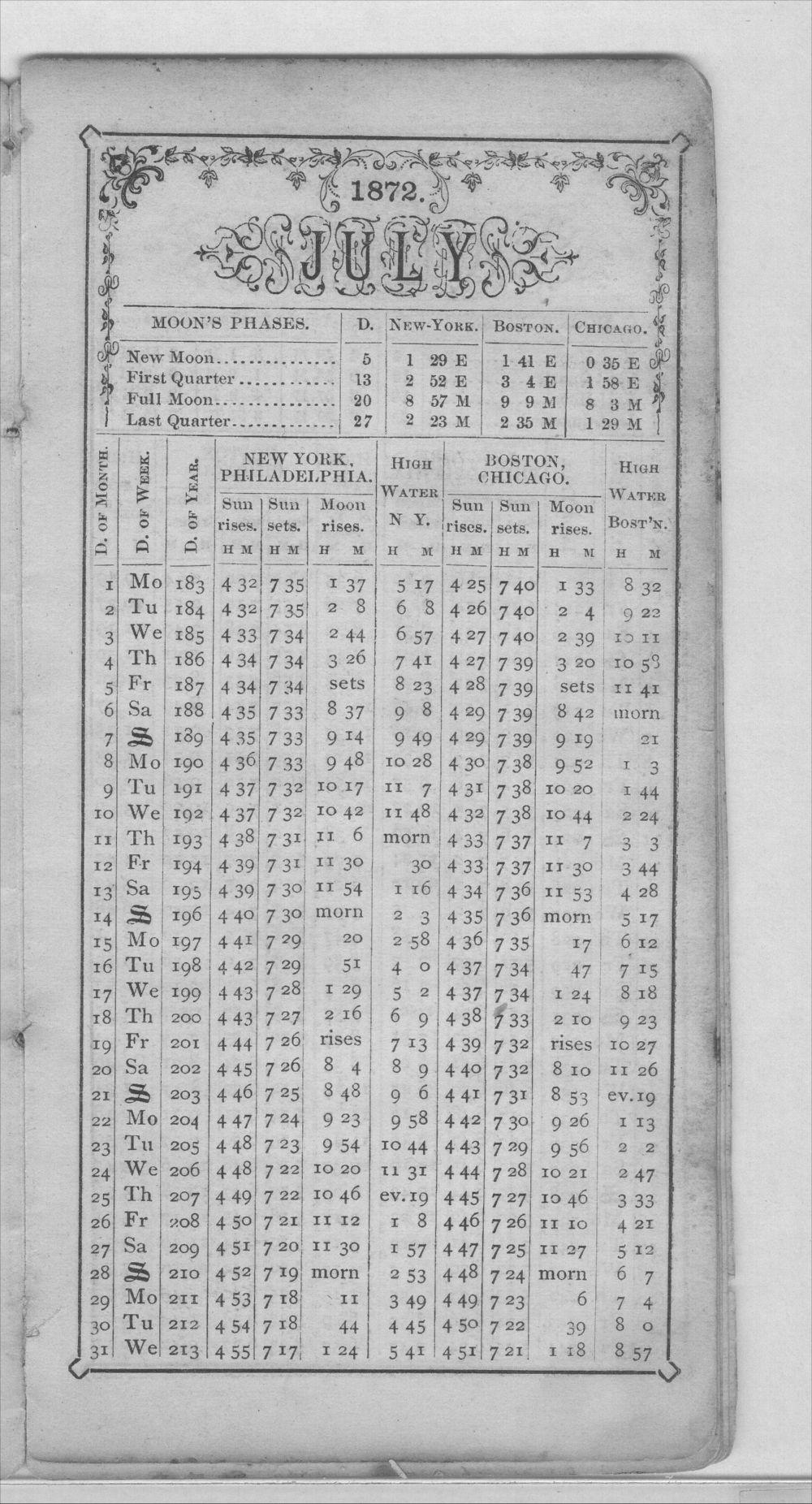 Henry Raymond diary - Jul Calendar