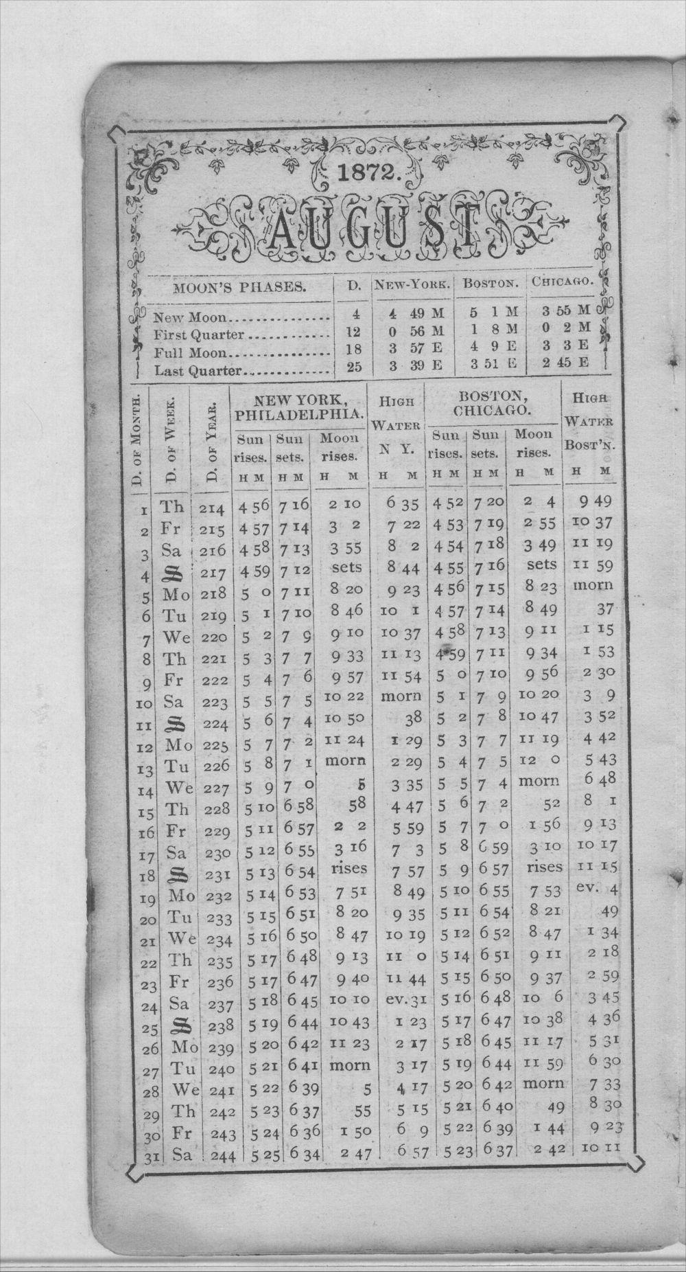 Henry Raymond diary - Aug Calendar