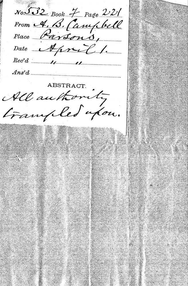 A.B. Campbell to Governor John Martin - 2