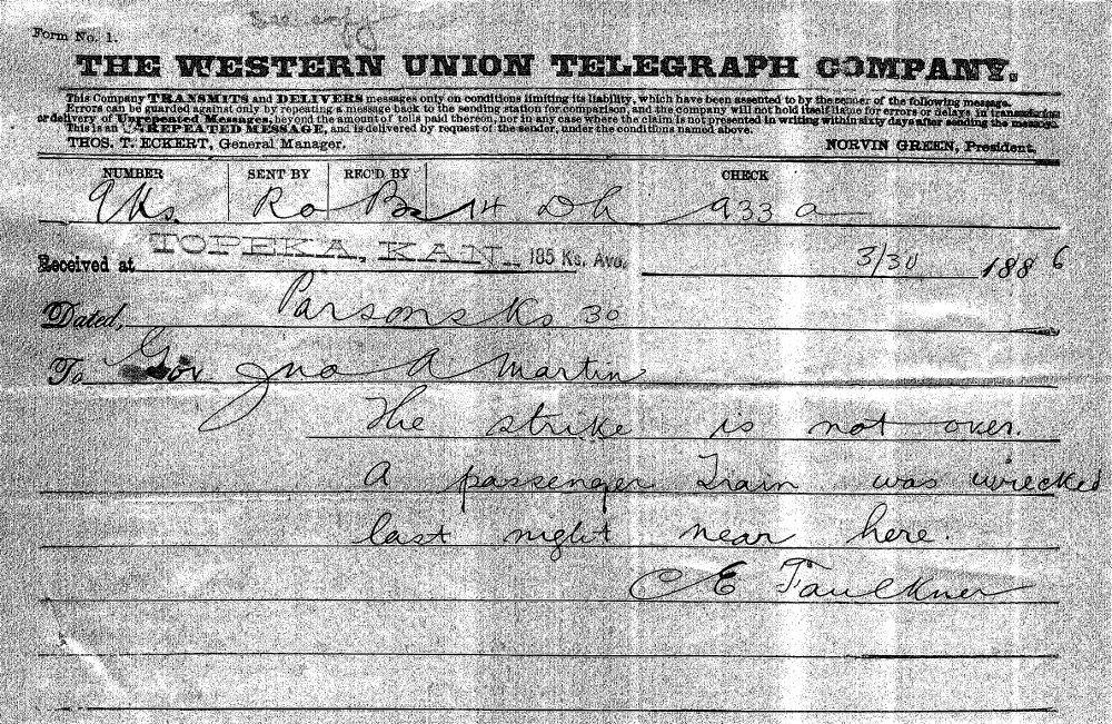 C.E. Faulkner to Governor John Martin - 1