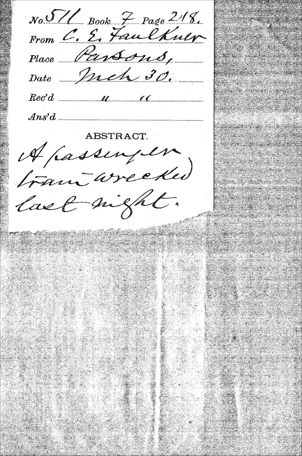 C.E. Faulkner to Governor John Martin - 2