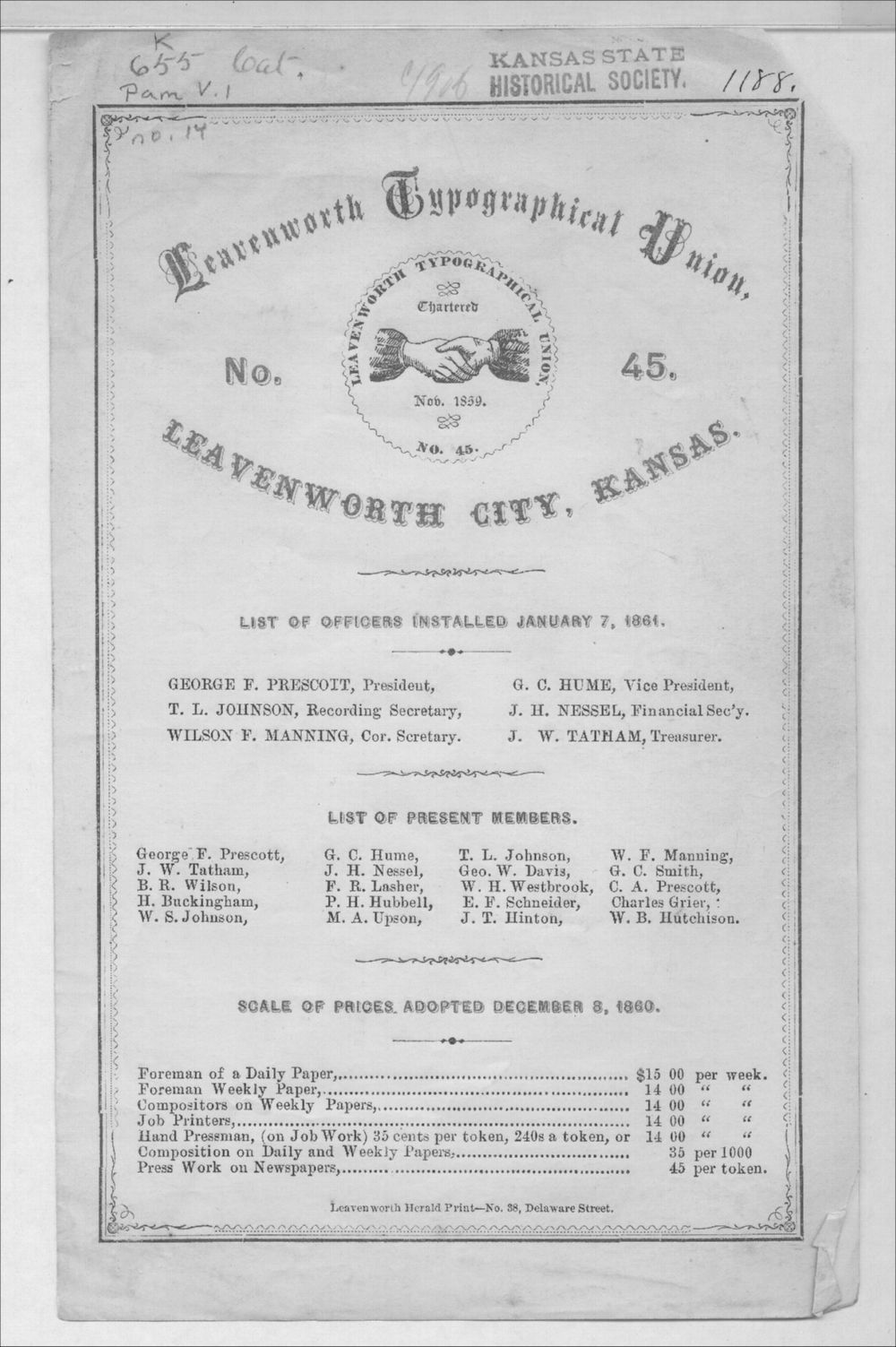 Leavenworth Typographical Union No. 45 list of officers