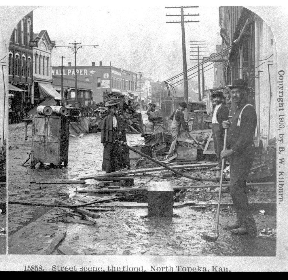 Cleaning up after a flood, Topeka, Kansas
