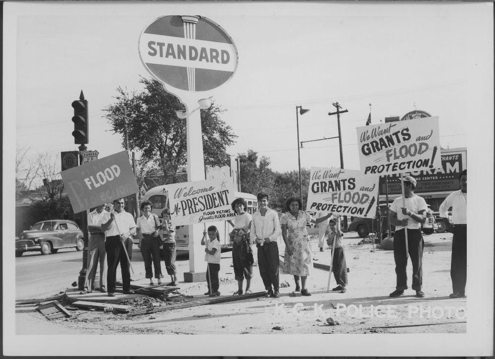 People holding signs, Kansas City, Kansas