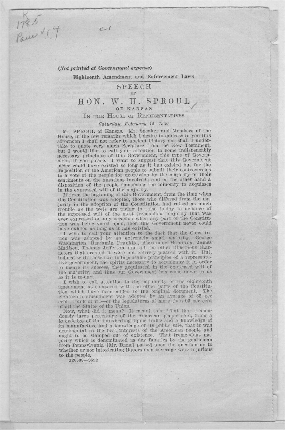 Speech of Hon.W.H. Sproul - 1