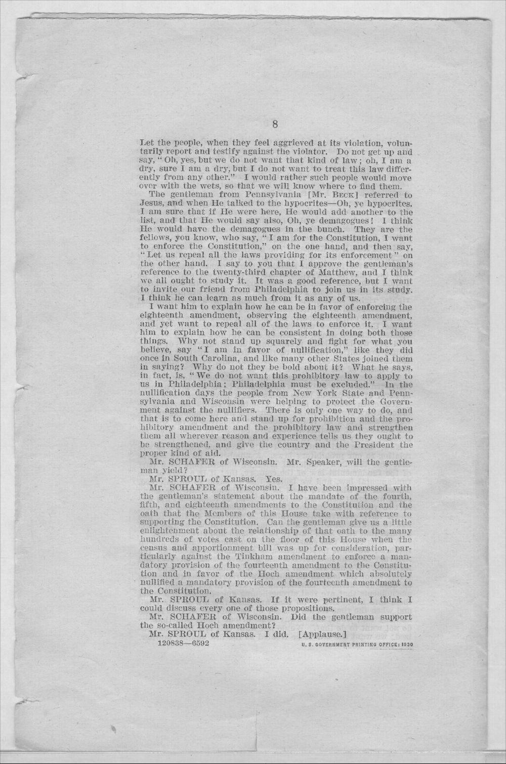 Speech of Hon.W.H. Sproul - 8