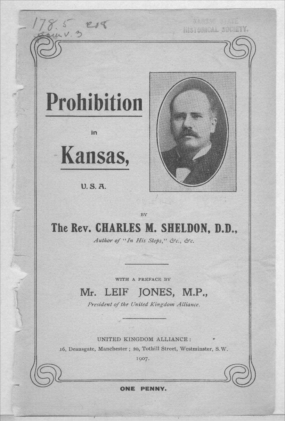 Prohibition in Kansas, U.S.A. - Front Cover