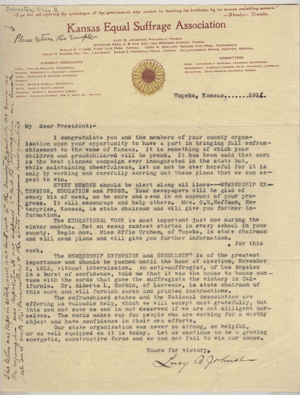 Lucy B. Johnston to County Presidents of the Kansas Equal Suffrage Association