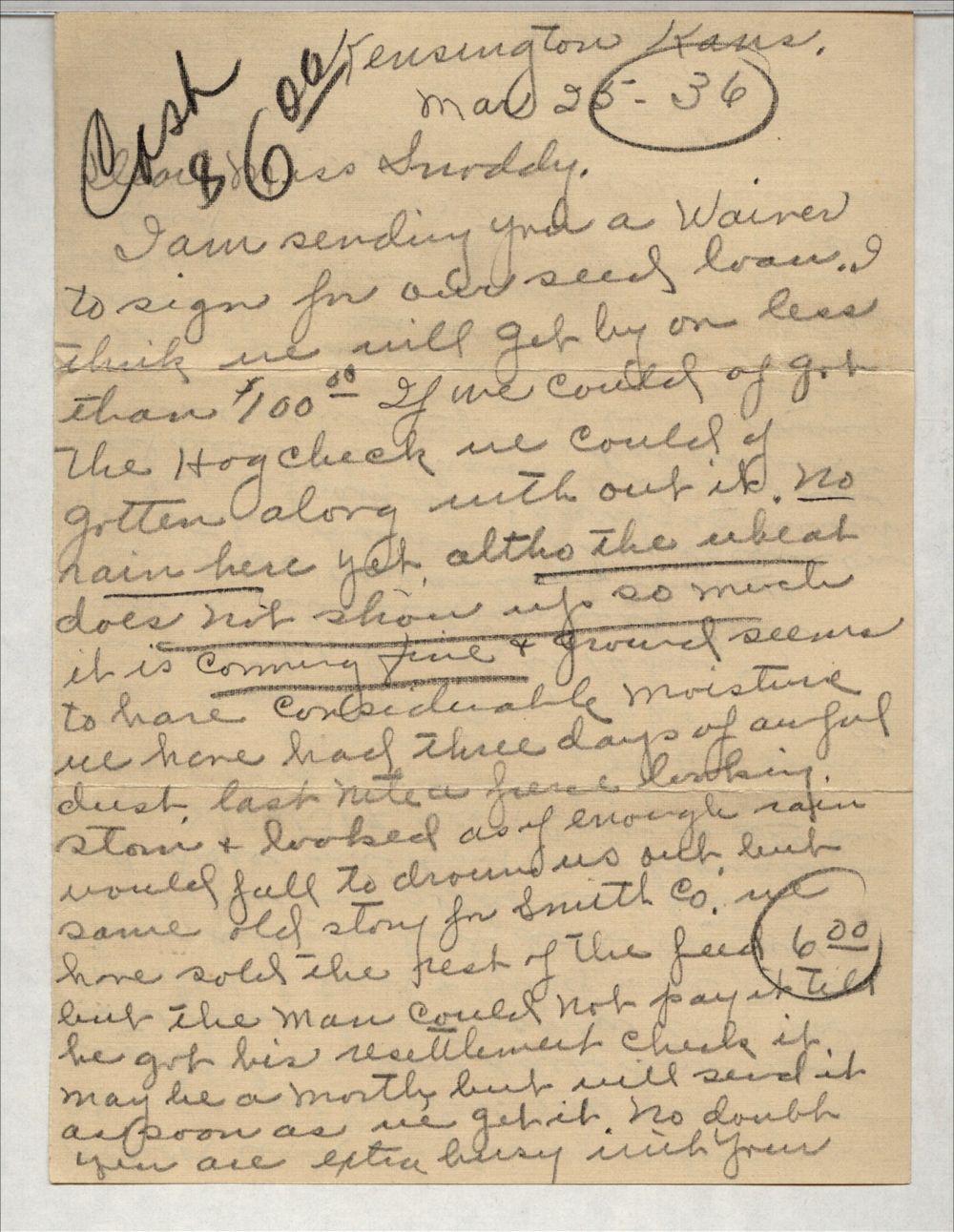 Edna Heim to Clarice Snoddy - 1