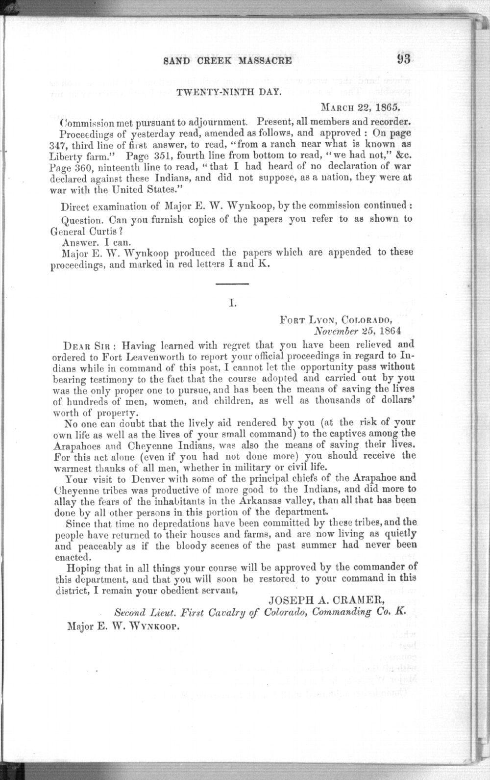 Testimony of Major Edward W. Wynkoop - 93
