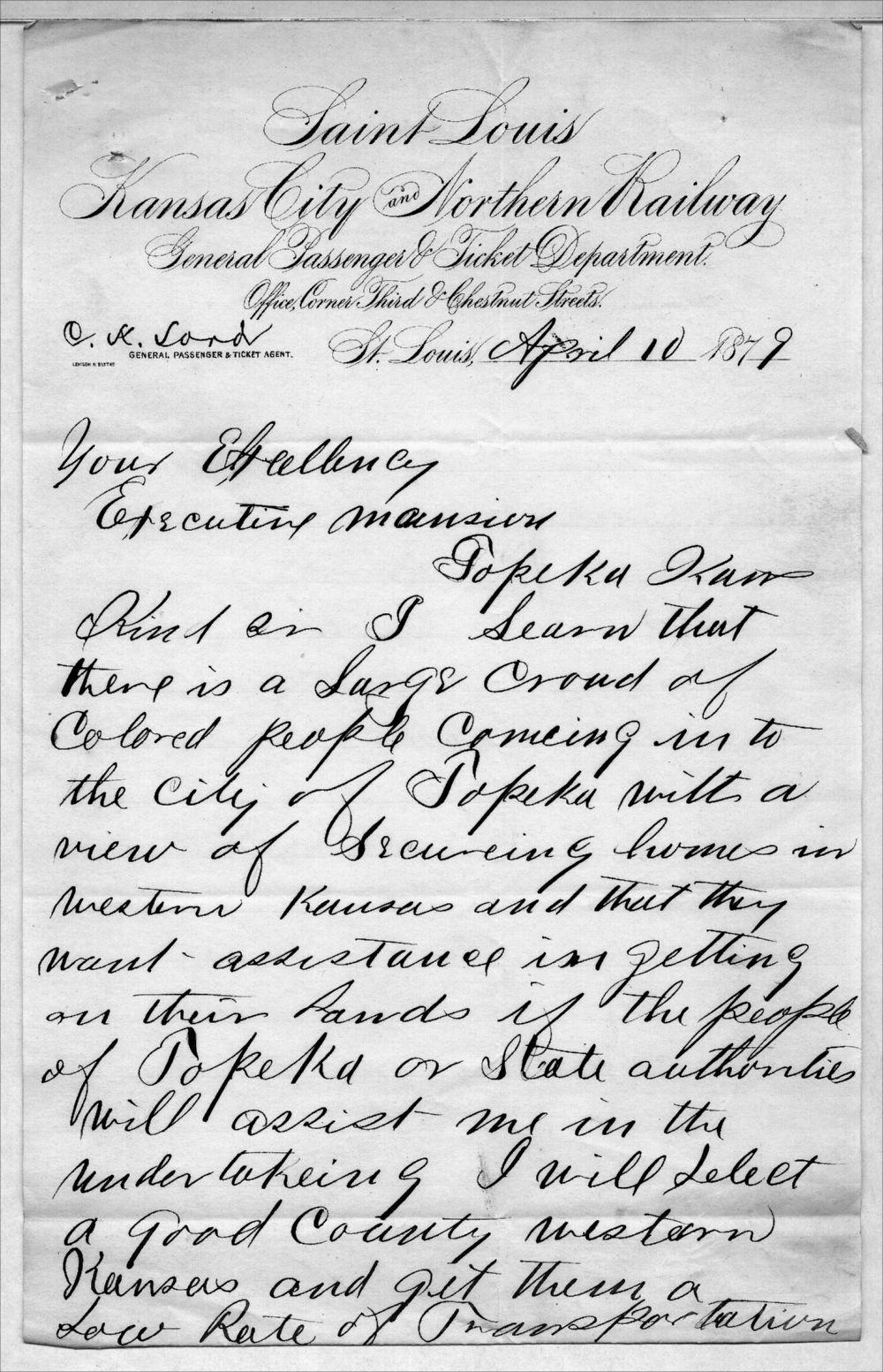 Governor John St. John, Exoduster received correspondence - 6