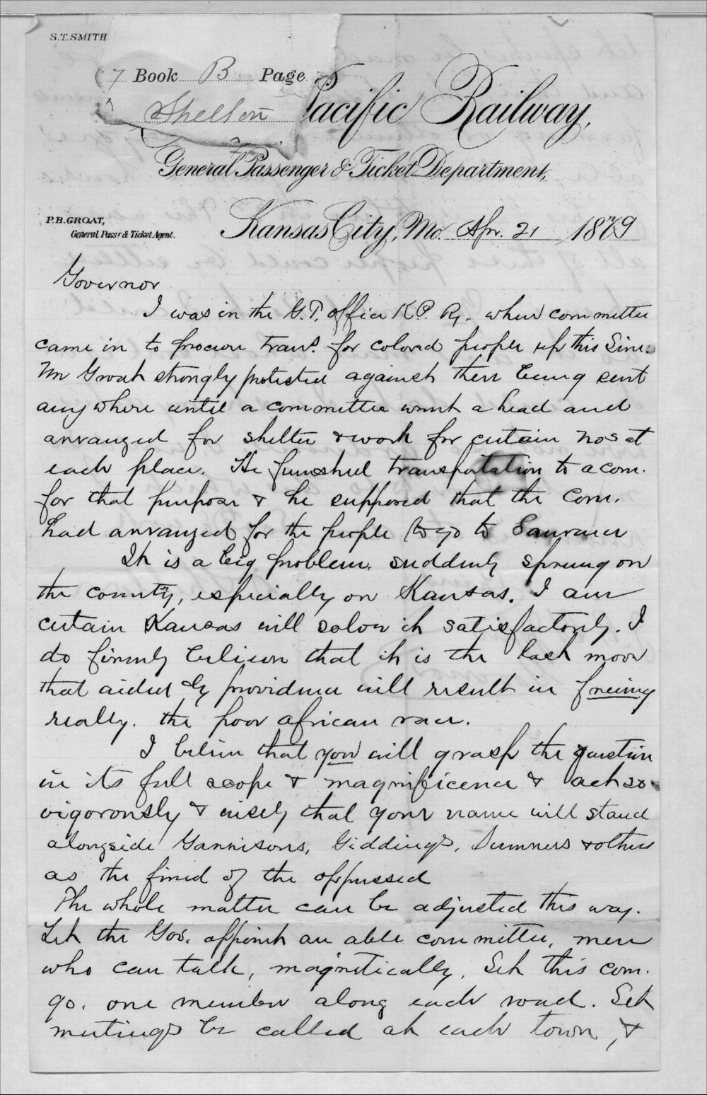 Governor John St. John, Exoduster received correspondence - 12