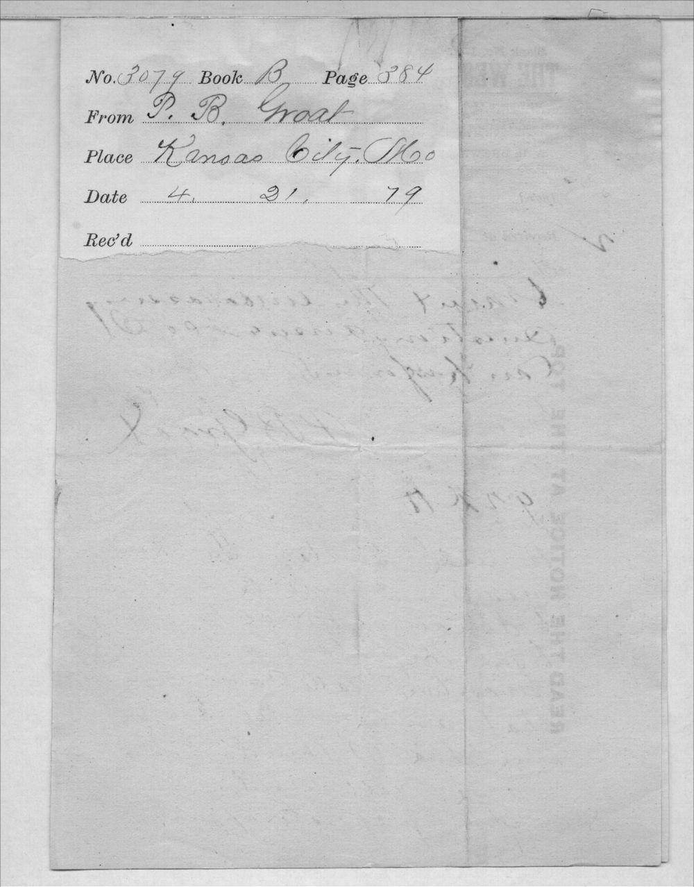 Governor John St. John, Exoduster received correspondence - 11