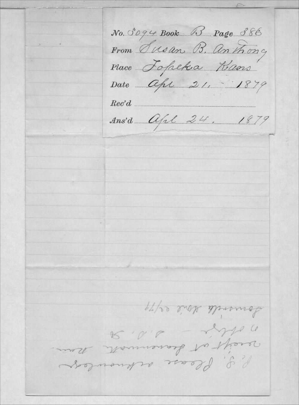 Susan B. Anthony to Governor John P. St. John - 3
