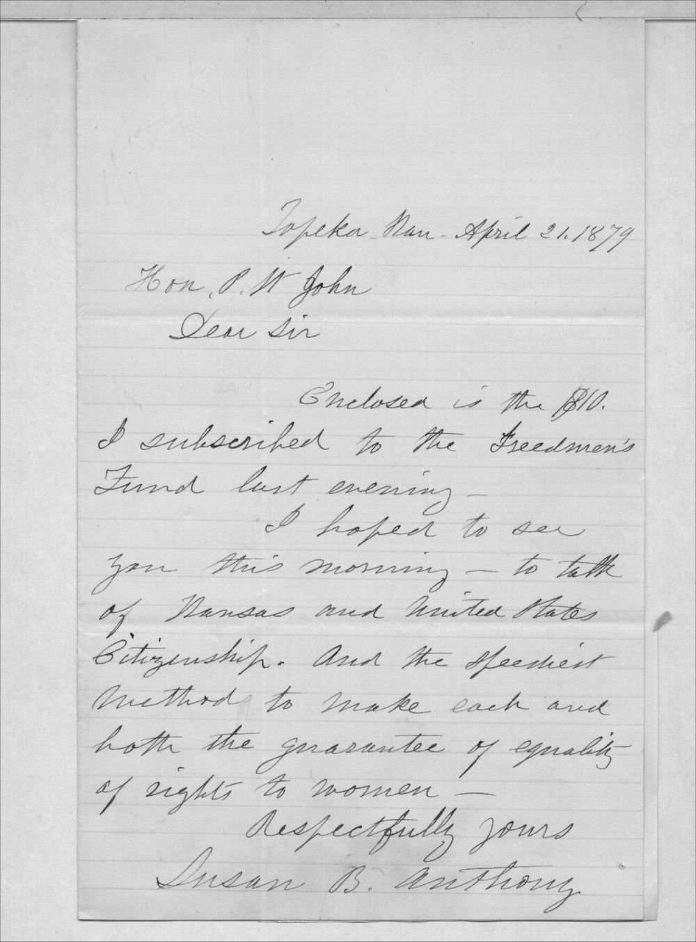 Susan B. Anthony to Governor John P. St. John - 1