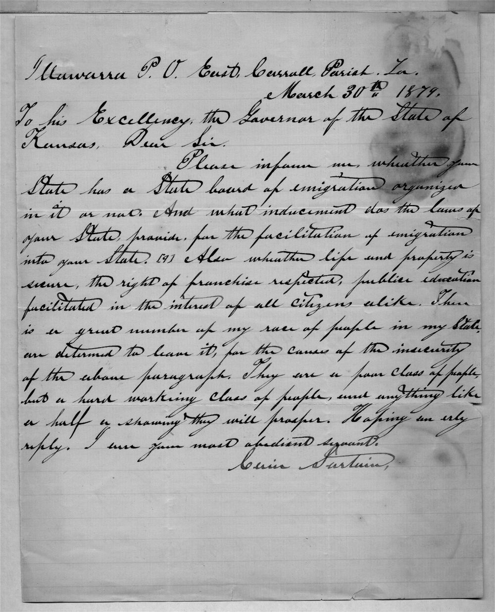Governor John St. John, Exoduster received correspondence - 1 (April 1879)