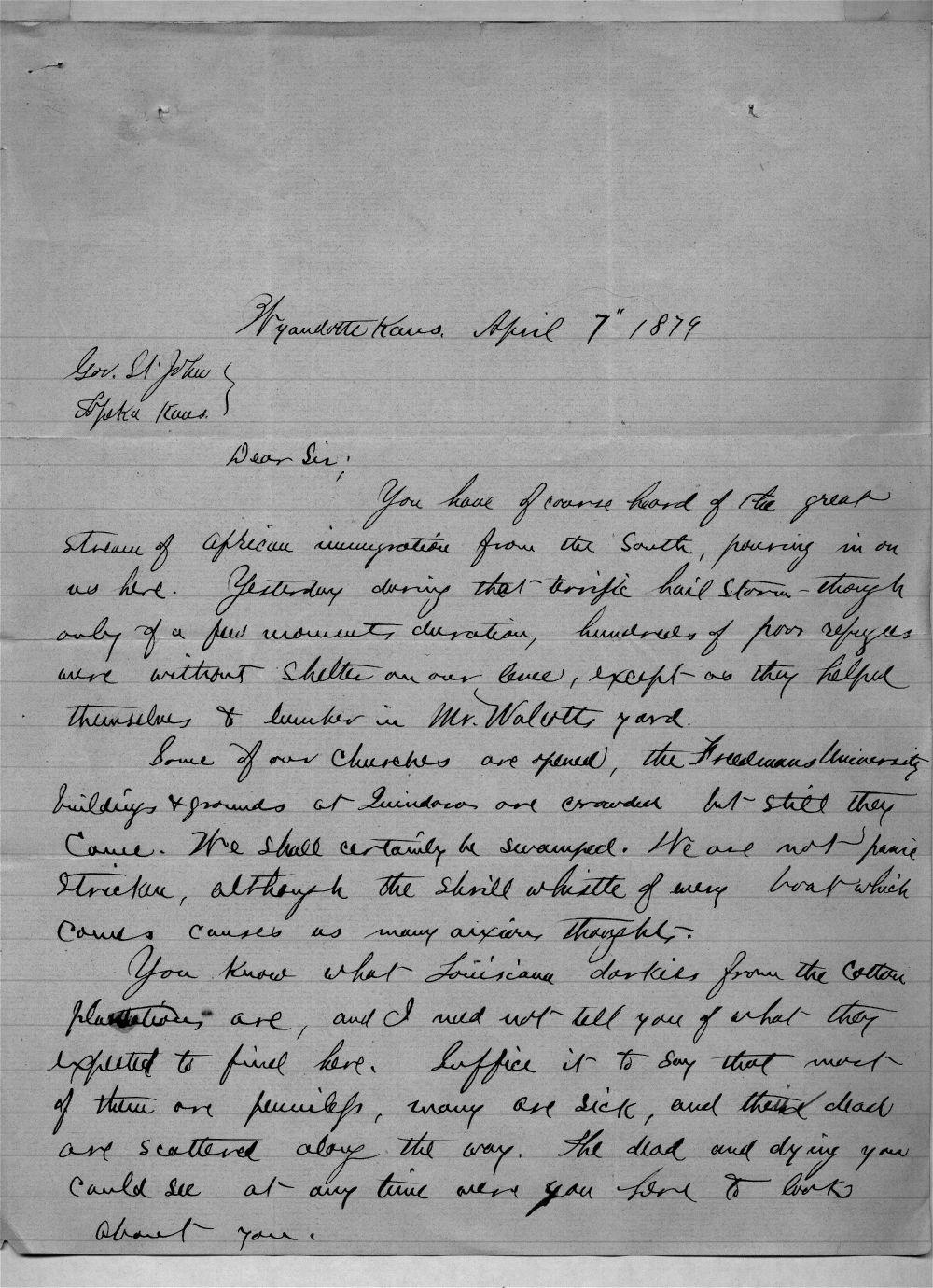 Governor John St. John, Exoduster received correspondence - 3