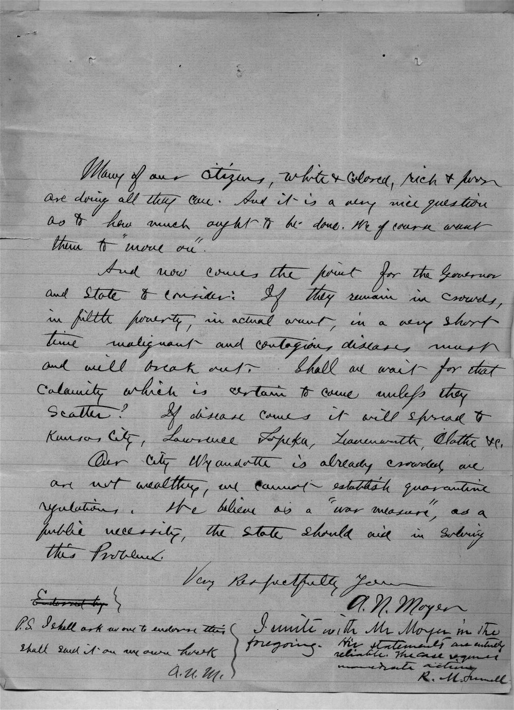 Governor John St. John, Exoduster received correspondence - 4