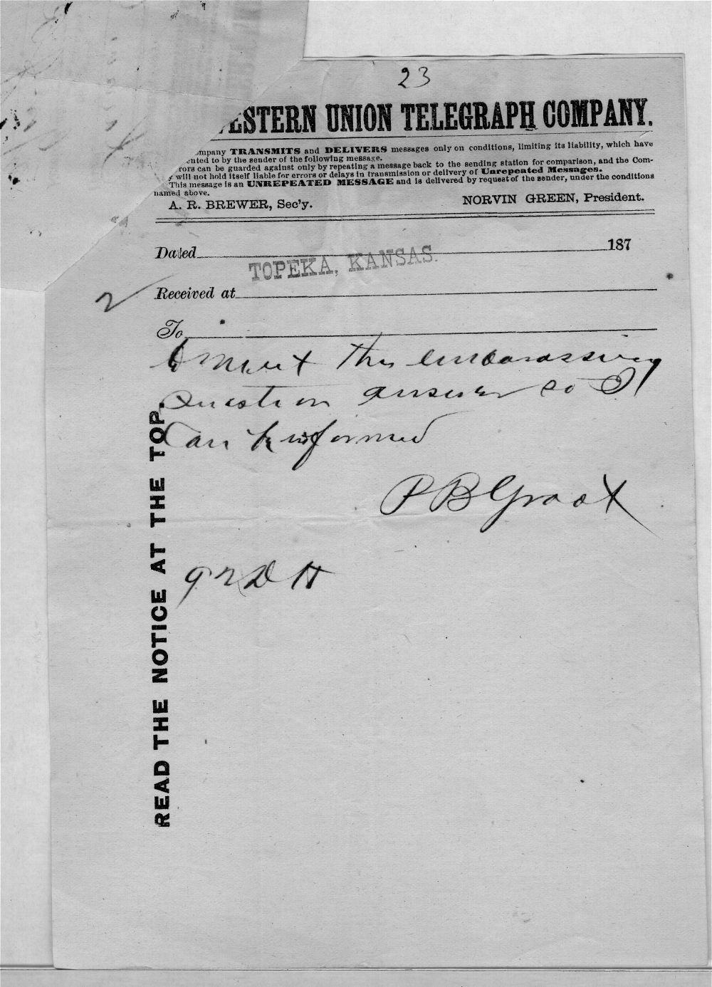 Governor John St. John, Exoduster received correspondence - 10