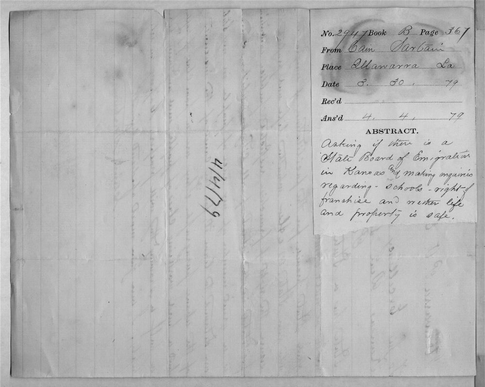 Governor John St. John, Exoduster received correspondence - 2