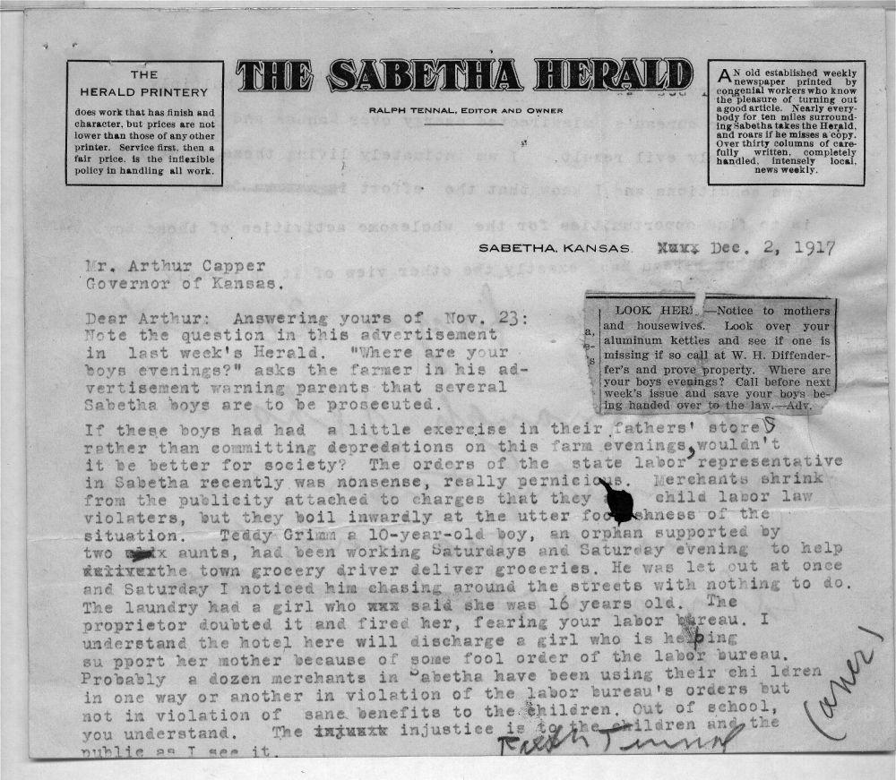 Ralph Tennal to Arthur Capper - 1