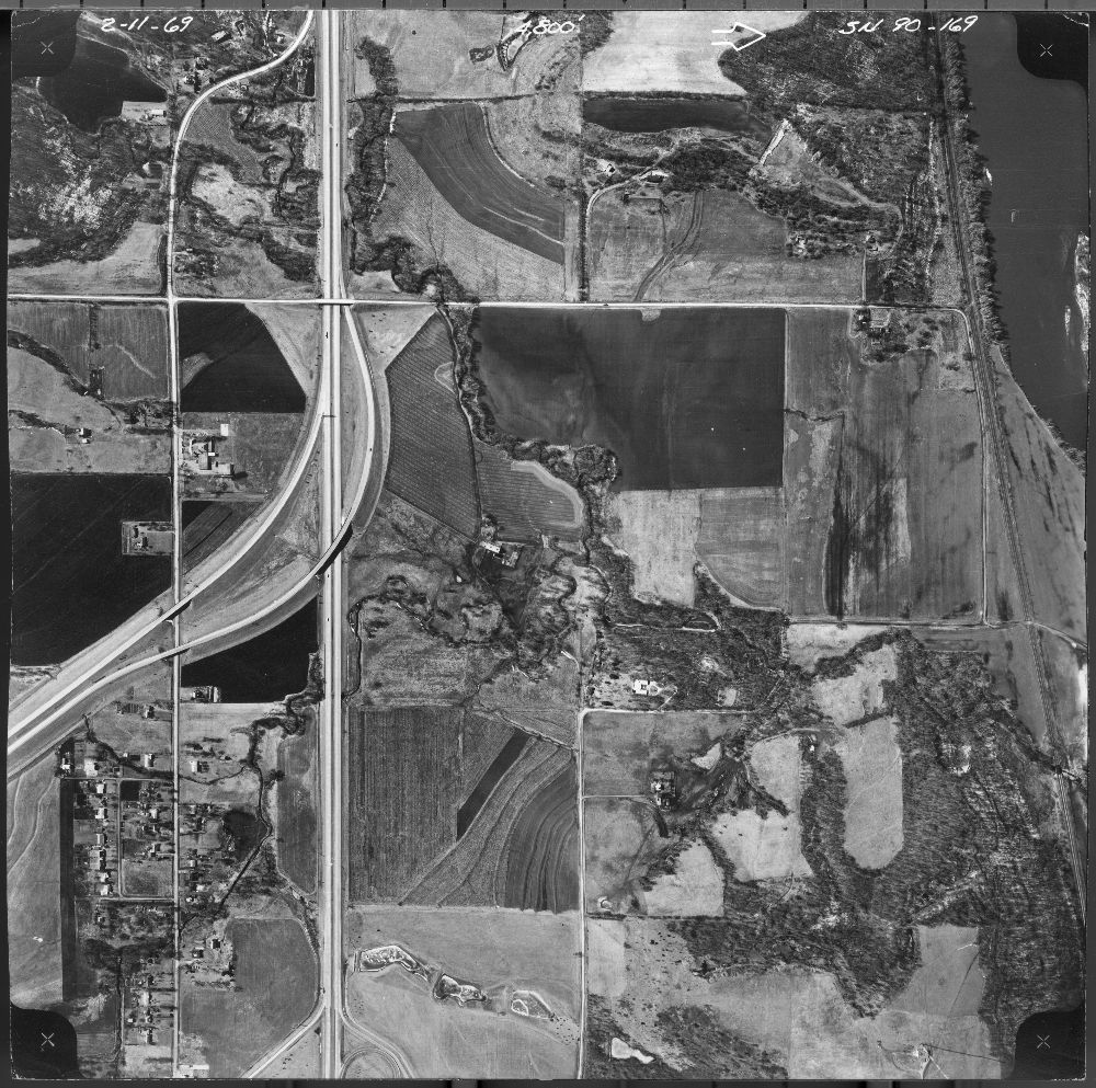 Aerial view of the Pottawatomie Indian Mission and surrounding area, Topeka, Kansas