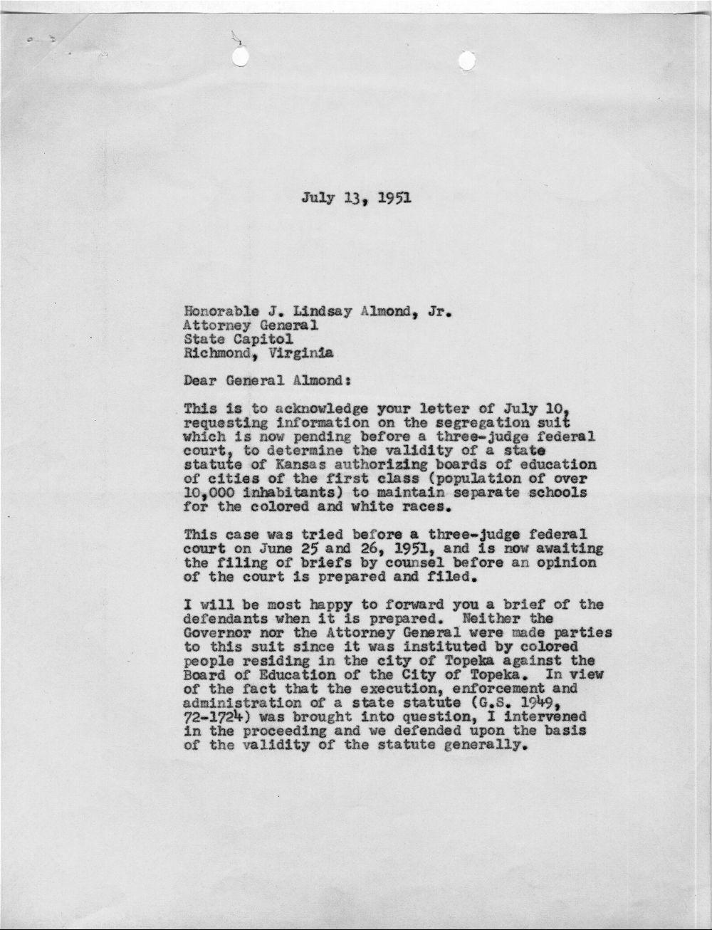 Harold R. Fatzer to J. Lindsay Almond Jr. - 1