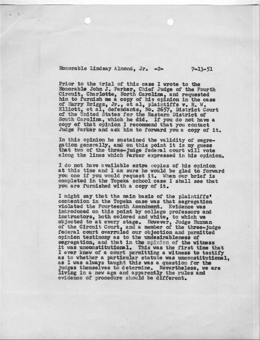 Harold R. Fatzer to J. Lindsay Almond Jr. - 2