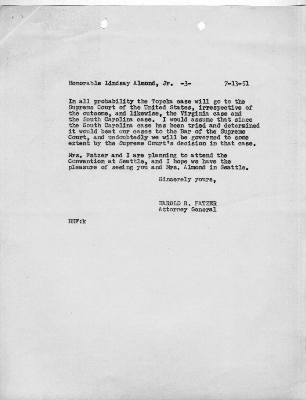 Harold R. Fatzer to J. Lindsay Almond Jr. - 3