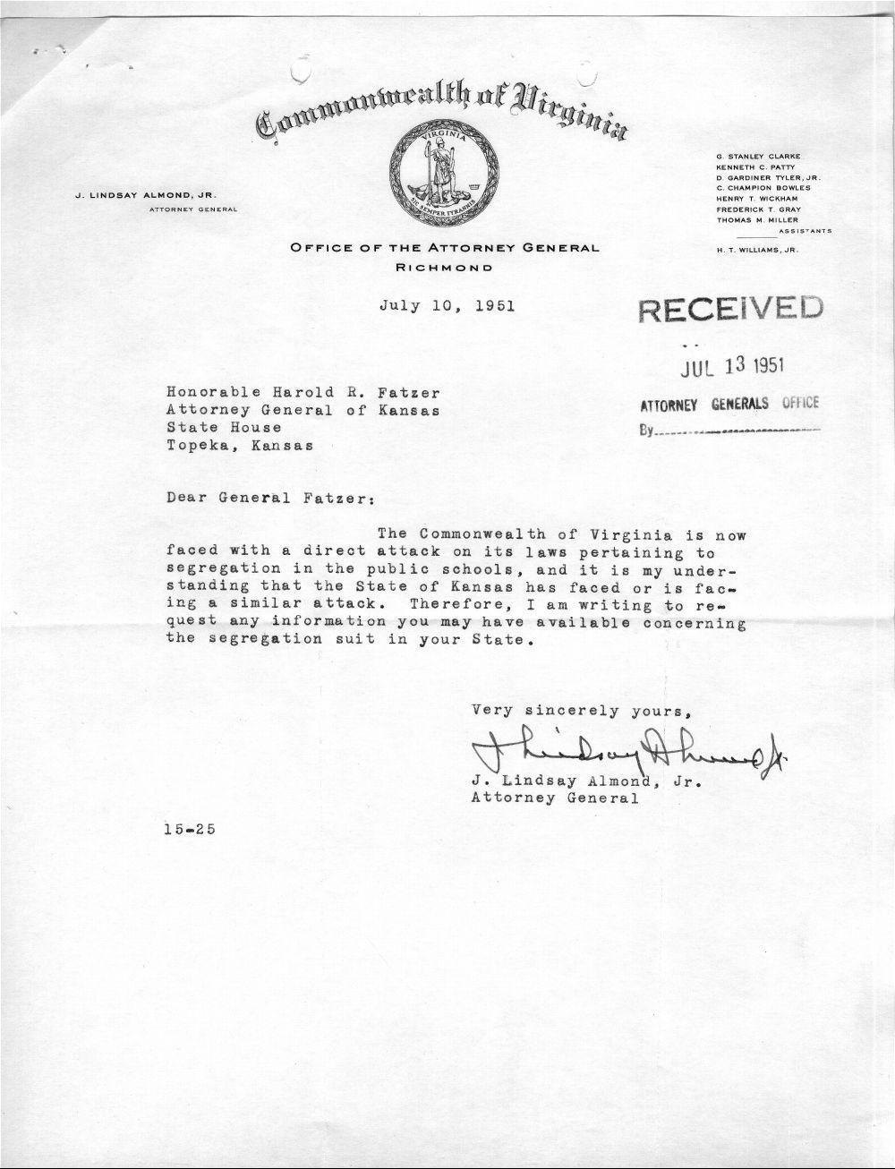 Harold R. Fatzer to J. Lindsay Almond Jr. - 4