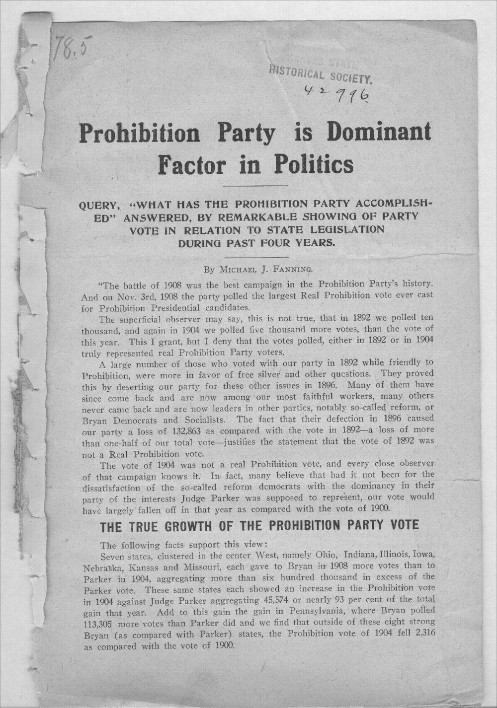 Prohibition Party is dominant factor in politics - 1