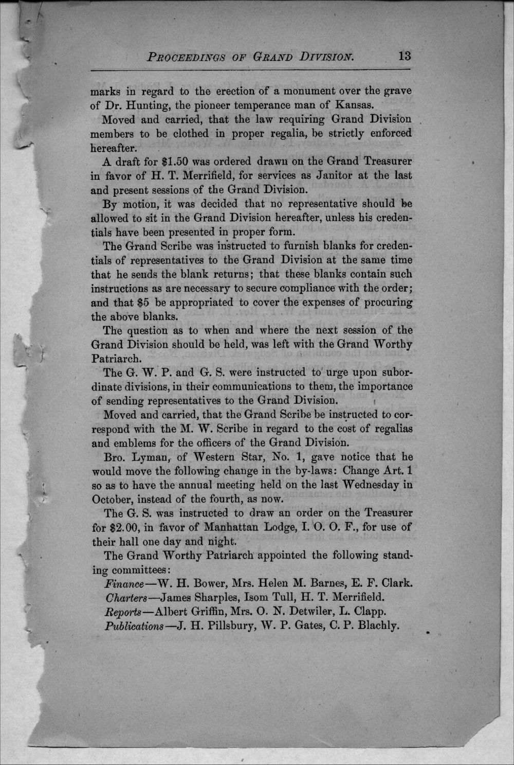 Journal of proceedings of the Grand Division of the Sons of Temperance of Kansas - 13