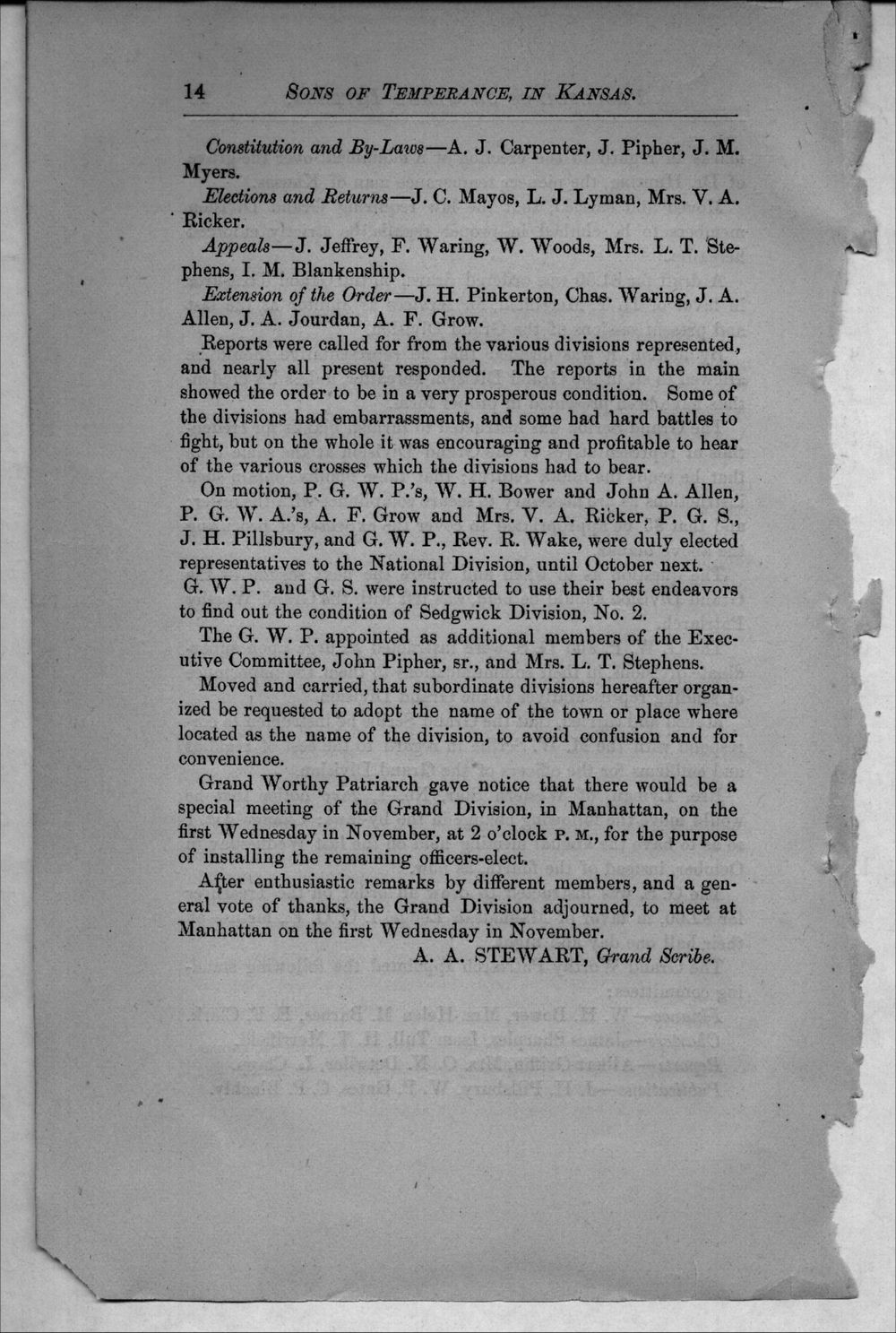 Journal of proceedings of the Grand Division of the Sons of Temperance of Kansas - 14