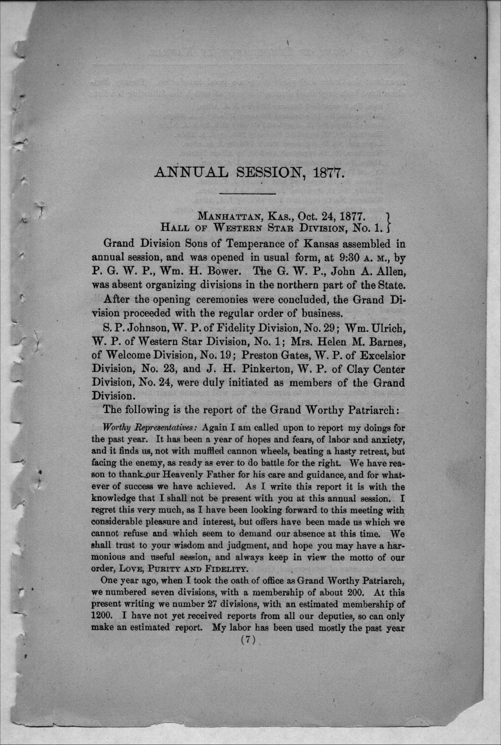 Journal of proceedings of the Grand Division of the Sons of Temperance of Kansas - 7