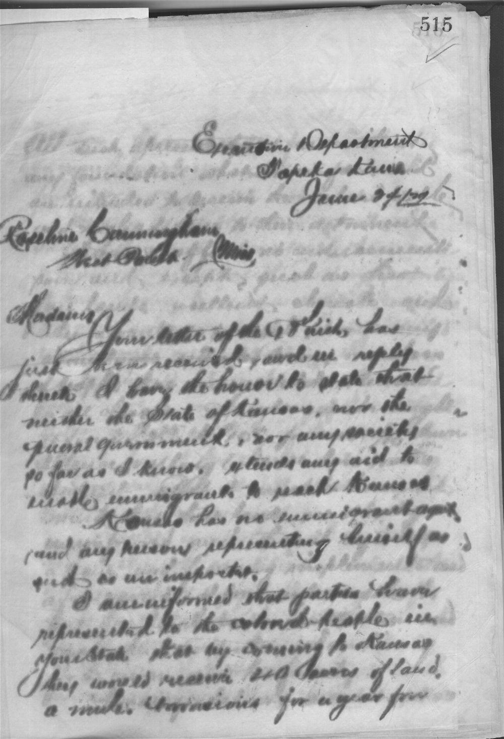 Governor John P. St. John to Roseline Cunningham - 1