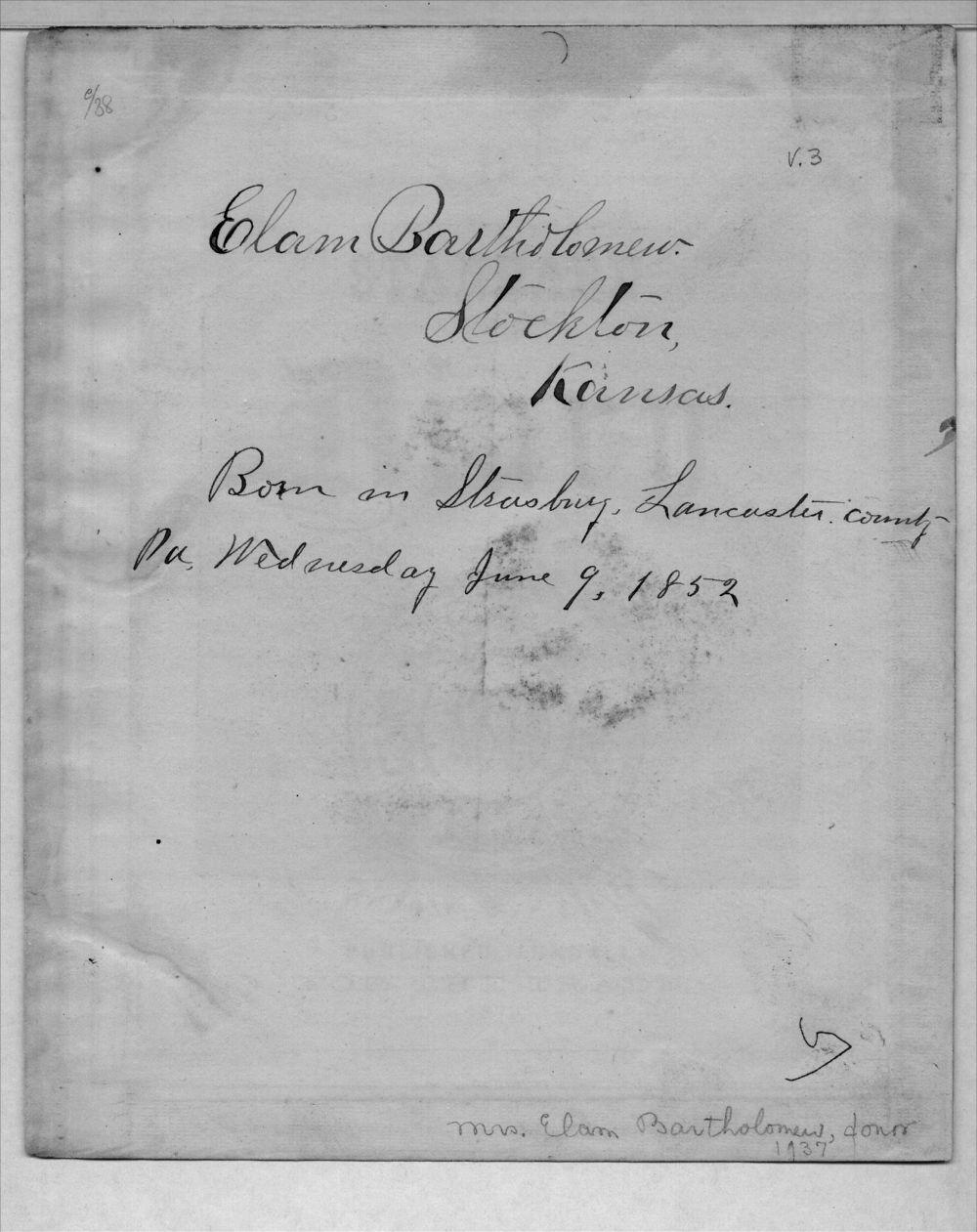 Elam Bartholomew diary - Signature
