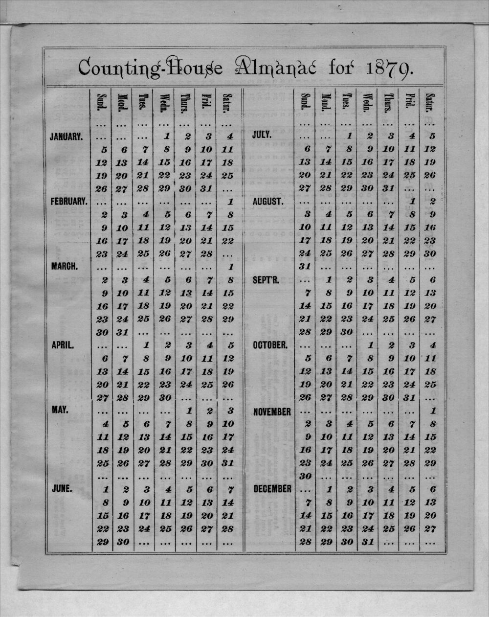 Elam Bartholomew diary - 1879 Calendar