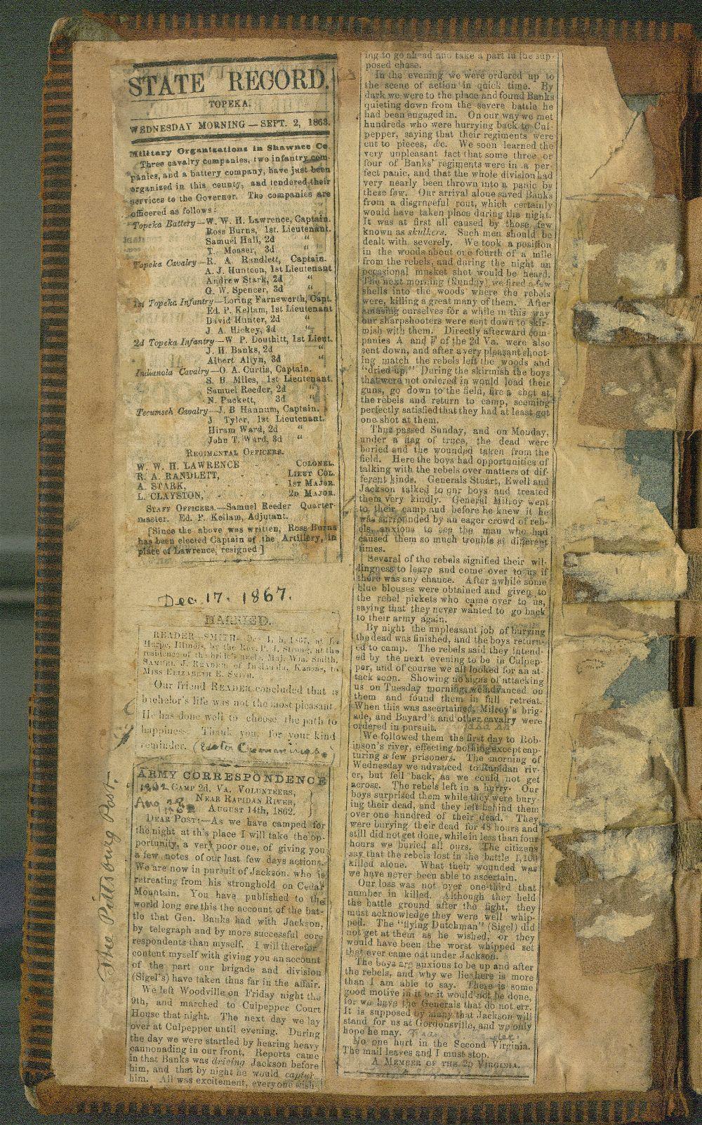 Samuel Reader's diary, volume 5 - Inside Front Cover