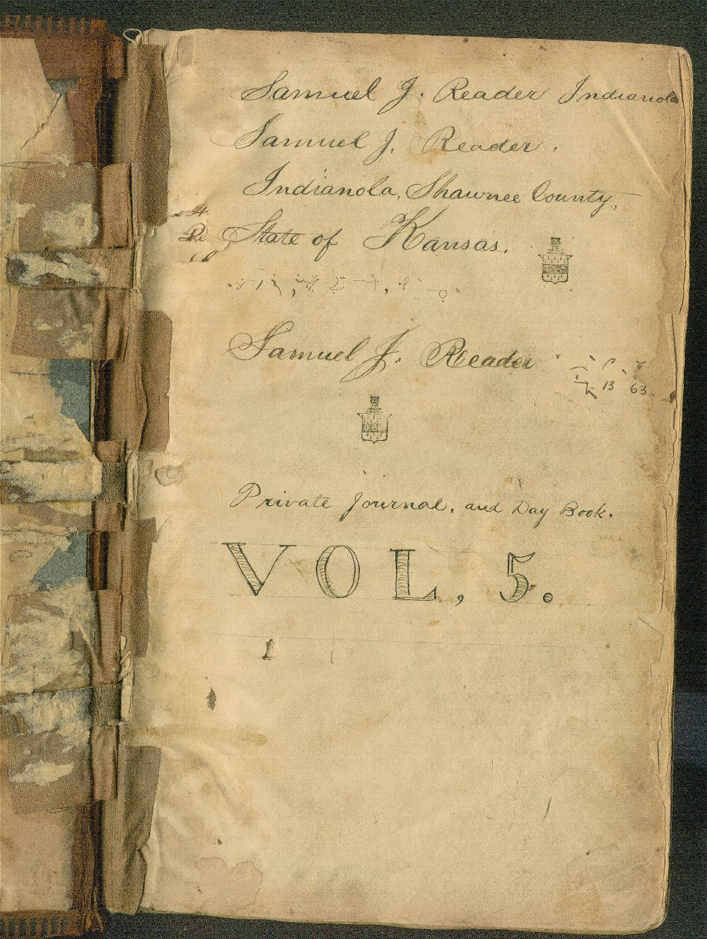 Samuel Reader's diary, volume 5 - Title Page